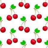 Frutta dolce isolata su fondo bianco Vector il reticolo senza giunte L'illustrazione con la ciliegia rossa può essere usata per i Immagini Stock Libere da Diritti