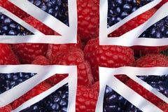 Frutta e bandiera del Regno Unito Fotografie Stock Libere da Diritti