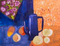 Frutta e brocca dipinte con una spazzola Fotografie Stock Libere da Diritti