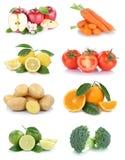 Frutta e broccol dei pomodori delle arance delle mele della raccolta delle verdure Immagine Stock Libera da Diritti