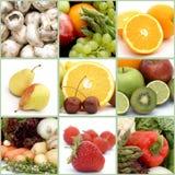 Frutta e collage delle verdure Fotografie Stock Libere da Diritti