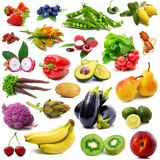 Frutta e collage delle verdure su fondo bianco Immagine Stock Libera da Diritti
