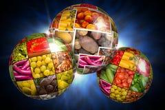 Frutta e globo del collage delle verdure Fotografia Stock