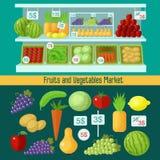 Frutta e mercato delle verdure illustrazione di stock