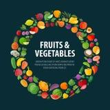 Frutta e modello di progettazione di logo di vettore delle verdure Immagine Stock Libera da Diritti