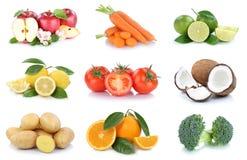Frutta e noce di cocco dei pomodori delle arance delle mele della raccolta delle verdure Fotografie Stock