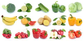 Frutta e patate della banana di Cuba isolate raccolta delle verdure Fotografia Stock