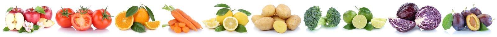 Frutta e pomodori del cavolo delle arance delle mele delle verdure di verdure Immagine Stock
