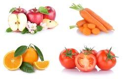 Frutta e pomodori delle carote delle arance delle mele della raccolta delle verdure Fotografia Stock
