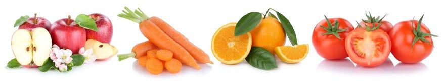 Frutta e pomodori delle carote delle arance delle mele delle verdure di verdure Fotografia Stock