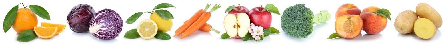 Frutta e raccolta delle verdure isolata in un'arancia della mela di fila Immagine Stock