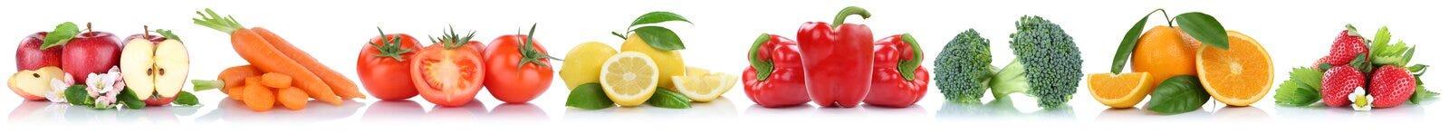Frutta e raccolta delle verdure isolata in un'arancia della mela di fila Immagine Stock Libera da Diritti