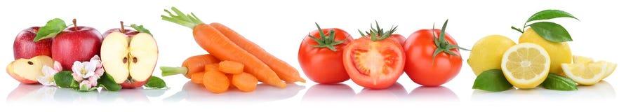 Frutta e raccolta delle verdure isolata in un tomatoe della mela di fila Fotografia Stock Libera da Diritti