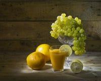 Frutta e succo di frutta Fotografie Stock Libere da Diritti