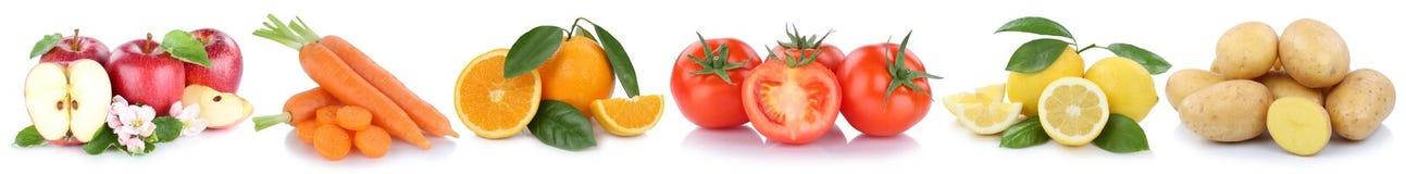 Frutta e veg dei pomodori delle carote dei limoni delle arance delle mele delle verdure Immagine Stock Libera da Diritti