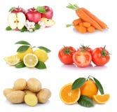 Frutta e vegetab dei pomodori delle arance delle mele della raccolta delle verdure Immagine Stock Libera da Diritti