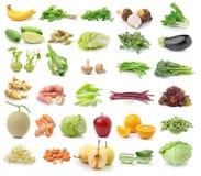 Frutta e verdura su fondo bianco Fotografia Stock Libera da Diritti