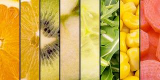 Frutta e verdure - arancia della raccolta, agrume, kiwi, Apple, cetriolo, insalata, mais e carote Immagini Stock Libere da Diritti