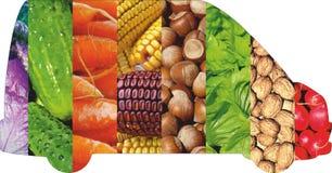 Frutta e verdure di colore Alimento fresco Concetto collage Immagini Stock