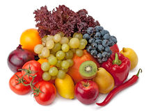 Frutta e verdure isolate su un fondo bianco Immagine Stock Libera da Diritti