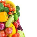 Frutta e verdure isolate su un fondo bianco Spazio libero fotografie stock