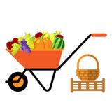 Frutta e verdure nell'illustrazione di vettore della carriola Fotografia Stock Libera da Diritti