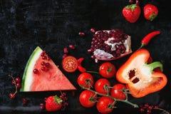 Frutta e verdure rosse Immagine Stock
