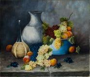 Frutta e vino della pittura a olio Fotografia Stock Libera da Diritti