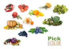 Frutta ed arcobaleno di colore delle verdure Fotografie Stock Libere da Diritti