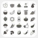Frutta ed icone delle verdure con il fondo della struttura Immagine Stock Libera da Diritti