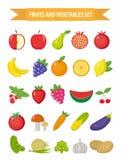 Frutta ed insieme dell'icona delle verdure, stile piano La frutta, le bacche e le verdure messe hanno messo isolato su un fondo b Immagine Stock
