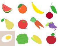Frutta ed insieme dell'illustrazione delle verdure Immagine Stock