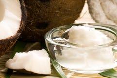 Frutta ed olio della noce di cocco Fotografia Stock Libera da Diritti