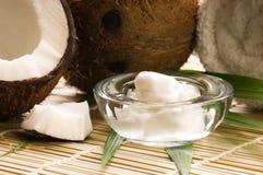 Frutta ed olio della noce di cocco Fotografia Stock