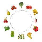 Frutta ed orologio delle verdure Fotografia Stock Libera da Diritti