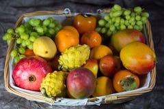 Frutta esotica, cachi, mango, pitahaja, melograno su un fondo bianco Immagine Stock