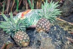 Frutta esotica tropicale fresca dell'ananas sulla spiaggia Isola di Parardise di Bali Borsa della spiaggia Fotografia Stock Libera da Diritti