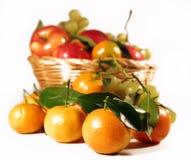Frutta fresca. Much fresh fruit of season, white studio background Stock Photo