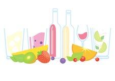 Frutta fresca, bacche, vino e frullato Fotografia Stock