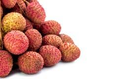 Frutta fresca dei litchi con il fondo di bianco dell'isolato Immagini Stock