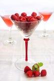 Frutta fresca del lampone in un vetro Fotografia Stock