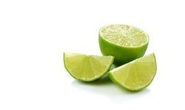 Frutta fresca del limone della calce isolata su fondo bianco Immagini Stock Libere da Diritti