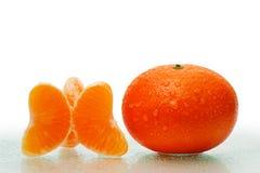 Frutta fresca del mandarino con le fette Immagini Stock