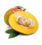 Frutta fresca del mango con i fogli verdi Fotografie Stock Libere da Diritti