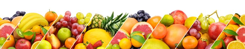 Frutta fresca della raccolta isolata su fondo bianco panoramico Immagine Stock Libera da Diritti