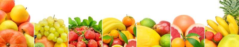 Frutta fresca della raccolta panoramica isolata su fondo bianco Immagine Stock