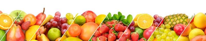 Frutta fresca della raccolta panoramica isolata su fondo bianco Fotografie Stock