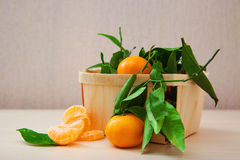 Frutta fresca delle arance del mandarino con le foglie Fotografia Stock Libera da Diritti