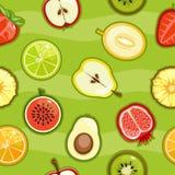 Frutta fresca e bacche del modello senza cuciture in un taglio Immagine Stock Libera da Diritti