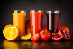 Frutta fresca Juice Drink in vetro Fotografia Stock Libera da Diritti